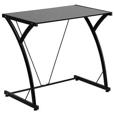 Flash Furniture Contemporary Tempered-Glass Computer Desk with Metal Frame, Black (NANWKSD02BK)
