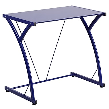 Flash Furniture Contemporary Blue Tempered Glass Computer Desk with Matching Frame (NANWKSD02BLUE)