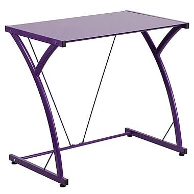 Flash Furniture – Bureau d'ordinateur contemporain en verre trempé, violet (NANWKSD02PUR)
