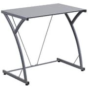 Flash Furniture Contemporary Tempered Glass Computer Desk with Matching Frame, Silver (NANWKSD02SIL)