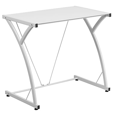 Flash Furniture Contemporary Tempered Glass Computer Desk with Matching Frame, White (NANWKSD02WH)