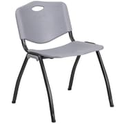 Flash Furniture  Hercules Series 880lb-Capacity Plastic Stack Chair, Gray with Black Frame (RBD01GY)