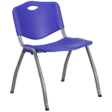Flash Furniture Hercules Series 880lb Capacity Plastic Stack Chair in Navy with Gray Frame, (RBD01NY)
