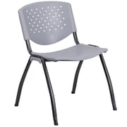 Flash Furniture  Hercules Series 880lb-Capacity Plastic Stack Chair, Gray with Black Frame Finish (RBF01AGY)