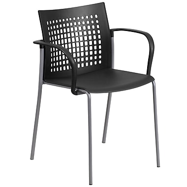 Flash Furniture Hercules Series 551lb-Capacity Stack Chair with Air-Vent Back and Arms, Black (RUT1BK)