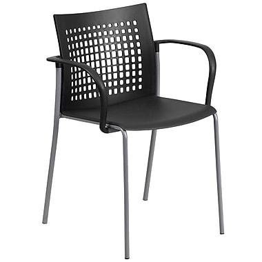 Flash Furniture – Chaise empilable HERCULES d'une capacité de 551 lb avec accotoirs et dossier ajouré, noir (RUT1BK)