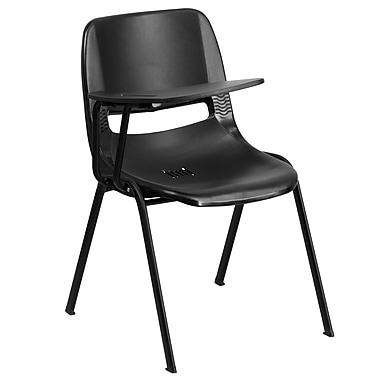 Flash Furniture – Chaise coquille ergonomique avec tablette rabattable à droite, noir (RUTEO1BKRTAB)