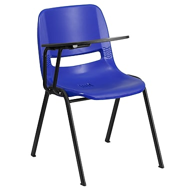 Flash Furniture Ergonomic Shell Chair, Blue with Right-Hand Flip-Up Tablet Arm (RUTEO1BLRTAB)