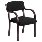 Flash Furniture Contemporary Black Fabric Wood Side Chair with Mahogany Frame (SD2052AMAH)