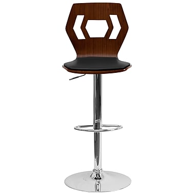 Flash Furniture Walnut Bentwood Adjustable-Height Barstool with Black Vinyl Seat and Cutout Back (SD2162WAL)