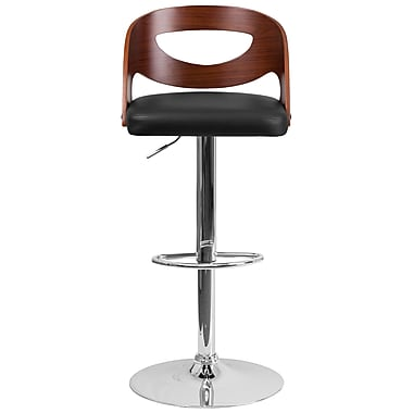 Walnut Bentwood Adjustable Height Cutout Back Barstool Black Vinyl Seat (SD2168WAL)