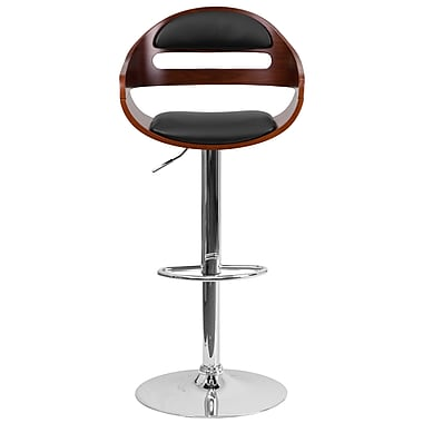 Flash Furniture 32.25' Walnut Bentwood Adjustable Height Barstool with Black Vinyl Seat and Cutout Padded Back (SD2199WAL)