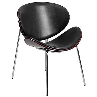 Flash Furniture – Chaise visiteur en bois cintré, acajou avec dossier et siège en cuir noir (SD2268A7)