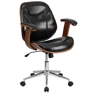 Flash Furniture Mid-Back Leather Executive Wood Swivel Office Chair, Black (SDSDM22355BK)
