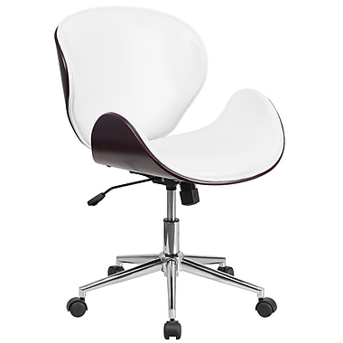 Flash Furniture SDSDM22405MAHWH Mid-Back Mahogany Wood Swivel Conference Chair in White Leather
