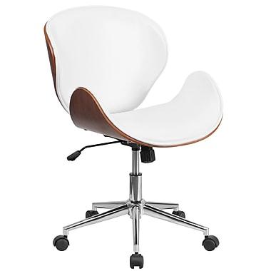 Flash Furniture – Chaise de conférence pivotante à dossier moyen en bois de noyer et en cuir blanc (SDSDM22405WH)