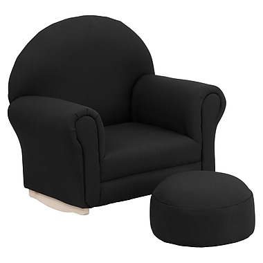 Flash Furniture Kids Fabric Rocker Chair and Footrest, Black (SF03OTTOBL)
