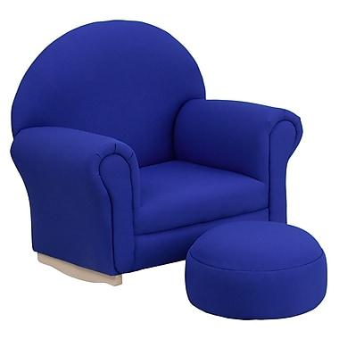 Flash Furniture – Fauteuil berçant pour enfants avec pouf en tissu, bleu (SF03OTTOBLUE)