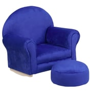 Flash Furniture Kids Microfiber Rocker Chair and Footrest, Blue (SF03OTTOMICBL)