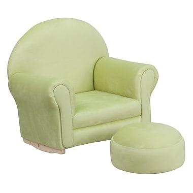Flash Furniture – Fauteuil berçant pour enfants avec pouf en microfibres, vert (SF03OTTOMICGRN)