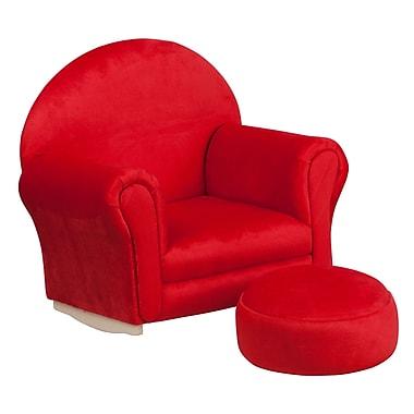 Flash Furniture – Fauteuil berçant pour enfants avec pouf en microfibres, rouge (SF03OTTOMICRED)
