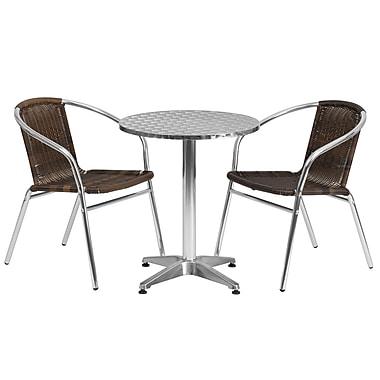 Flash Furniture – Table ronde de 23,5 po en aluminium avec 2 sièges en rotin, intérieur/extérieur (TLH24RD020CHR2)