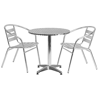 Flash Furniture 27.5'' Round Aluminum Indoor/Outdoor Table with 2 Slat-Back Chairs (TLH28RD017BCHR2)