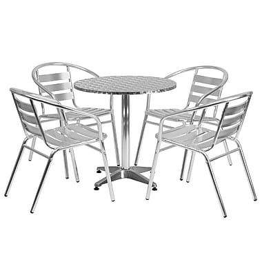 Flash Furniture 27.5'' Round Aluminum Indoor/Outdoor Table with 4 Slat-Back Chairs (TLH28RD017BCHR4)