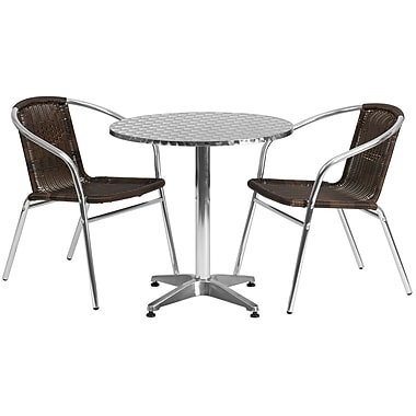 Flash Furniture 27.5'' Round Aluminum Indoor/Outdoor Table with 2 Rattan Chairs (TLH28RD020CHR2)