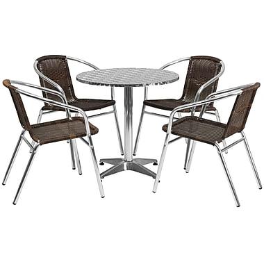 Flash Furniture – Table ronde de 27,5 po en aluminium avec 4 sièges en rotin, intérieur/extérieur (TLH28RD020CHR4)