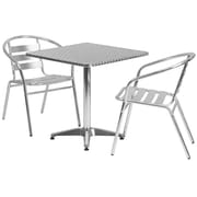Flash Furniture 27.5'' Square Aluminum Indoor/Outdoor Table with 2 Slat-Back Chairs (TLH28SQ017BCHR2)