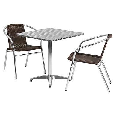 Flash Furniture – Table carrée de 27,5 po en aluminium avec 2 sièges en rotin, intérieur/extérieur (TLH28SQ020CHR2)