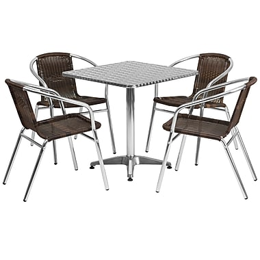 Flash Furniture 27.5'' Square Aluminum Indoor/Outdoor Table with 4 Rattan Chairs (TLH28SQ020CHR4)