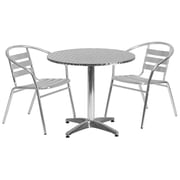 Flash Furniture 31.5'' Round Aluminum Indoor/Outdoor Table with 2 Slat-Back Chairs (TLH32RD017BCHR2)