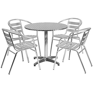 Flash Furniture 31.5'' Round Aluminum Indoor/Outdoor Table with 4 Slat-Back Chairs (TLH32RD017BCHR4)