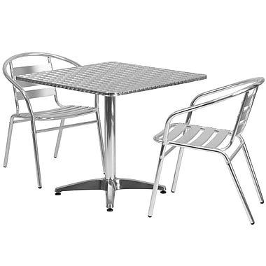 Flash Furniture 31.5'' Square Aluminum Indoor-Outdoor Table with 2 Slat Back Chairs (TLH32SQ017BCHR2)
