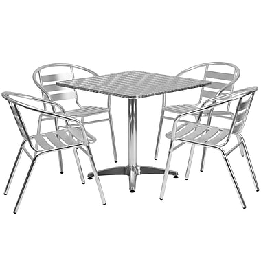 Flash Furniture 31.5'' Square Aluminum Indoor/Outdoor Table with 4 Slat-Back Chairs (TLH32SQ017BCHR4)