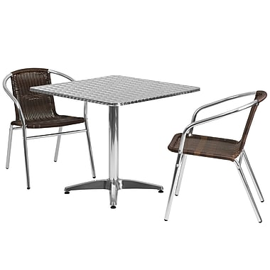 Flash Furniture 31.5'' Square Aluminum Indoor/Outdoor Table, 2 Rattan Chairs (TLH32SQ020CHR2)
