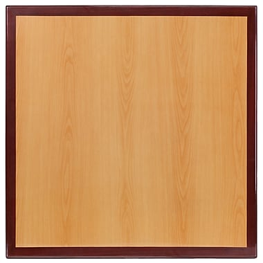 Flash Furniture 36'' Square Resin Table Top, Two-Tone Cherry and Mahogany (TP2TONE3636)