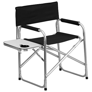 Flash Furniture Aluminum Folding Camping Chair with Table and Drink Holder, Black (TY1104BK)