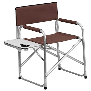 Flash Furniture Aluminum Folding Camping Chair with Table and Drink Holder, Brown (TY1104BN)