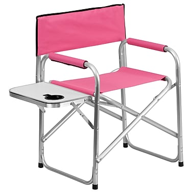 Flash Furniture Aluminum Folding Camping Chair with Table and Drink Holder, Pink (TY1104PK)