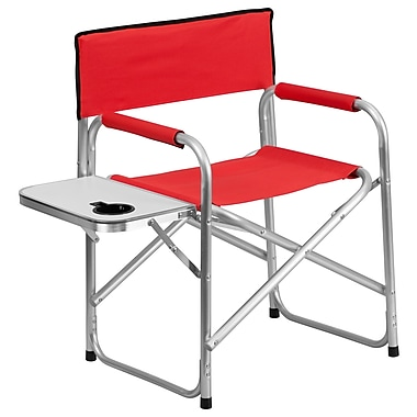 Flash Furniture – Chaise de camping pliante en aluminium avec tablette et porte-gobelet, rouge (TY1104RED)