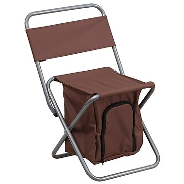 Flash Furniture Kids Folding Camping Chair with Insulated Storage, Brown (TY1262BN)