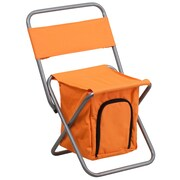 Flash Furniture Kids Folding Camping Chair with Insulated Storage in Orange, Silver Powder Coated Frame Finish (TY1262OR)