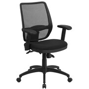 Flash Furniture WR72BLACK Mid-Back Mesh Executive Swivel Office Chair with Back Angle Adjustment, Black