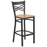 "Flash Furniture  Hercules Series 29"" Black ""X"" Back Metal Restaurant Barstool, Natural Wood Seat, 2/Box (XU6FOBXBARNTW)"