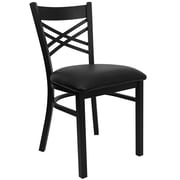 Flash Furniture  Hercules Series Black X-Back Metal Restaurant Chair, Black Vinyl Seat (XU6FOBXBKBLKV)