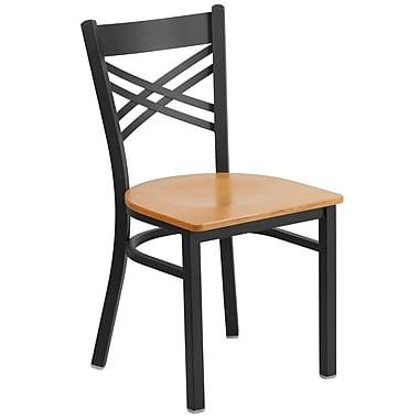 Flash Furniture – Chaise de restaurant en métal à traverses entrecroisées, noir, siège en bois naturel (XU6FOBXBKNATW)