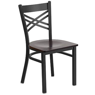 Flash Furniture – Chaise de restaurant en métal à traverses entrecroisées, noir, siège en noyer (XU6FOBXBKWALW)